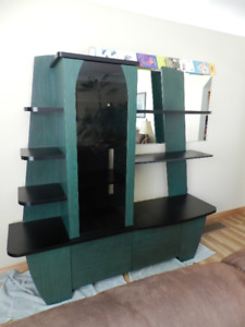 Unique Modern Green and Black Cabinet & TV Stand