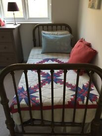 JUST REDUCED! ANTIQUE BRASS BED. Mattress and two sets of linen included.