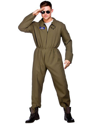 Mens Top Shot Costume Outfit Adult Flight Suit Pilot Aviator Fancy Dress Uniform - Pilot Outfit