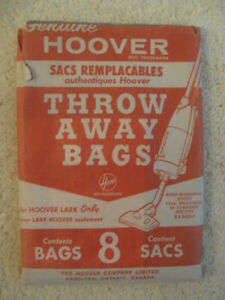 "GENUINE ""UPRIGHT HOOVER LARK"" VACUUM THROW AWAY BAGS"
