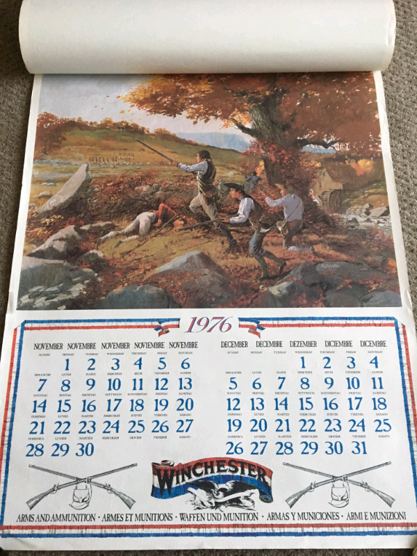1976 Rare Winchester Wall Calendar Us 200th Anniversary Edition