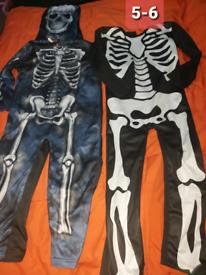 Skeleton costumes dress up 5-6 years Halloween bundle