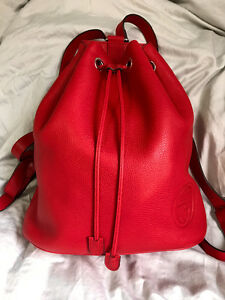 Red Gucci Leather Backpack