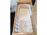 Mother care swinging crib/ mattress , blanket , bumper and sheets