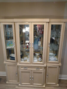 Hutch and display cabinet,Solid Oak wood-$450