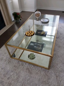 Muse Rustic Gold Glass coffee table