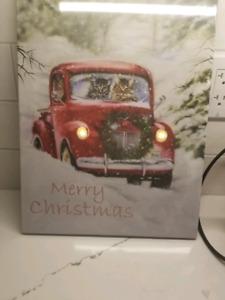 Merry Christmas Cat canvas decoration