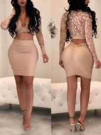 SEXY DEEP V LACE CROPPED SKIRT SET, M