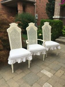 4 Shabby French Country Sklar Peppler Dining Chairs