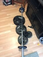 York Weights with barbell and clamps