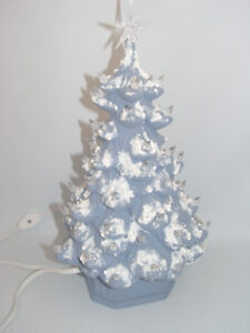 Vintage Blue Ceramic Christmas Stands 12 inch tall