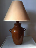Wooden table lamp and hanging wall lamp