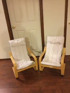 Two  Ikea Poang chairs for children