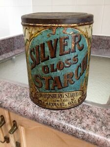 ANTIQUE SILVER GLOSS STARCH ADVERTISING EMBOSSED TIN