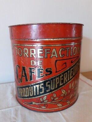 Ancienne grande boite à café torréfié rouge - Vintage red Coffee container Box
