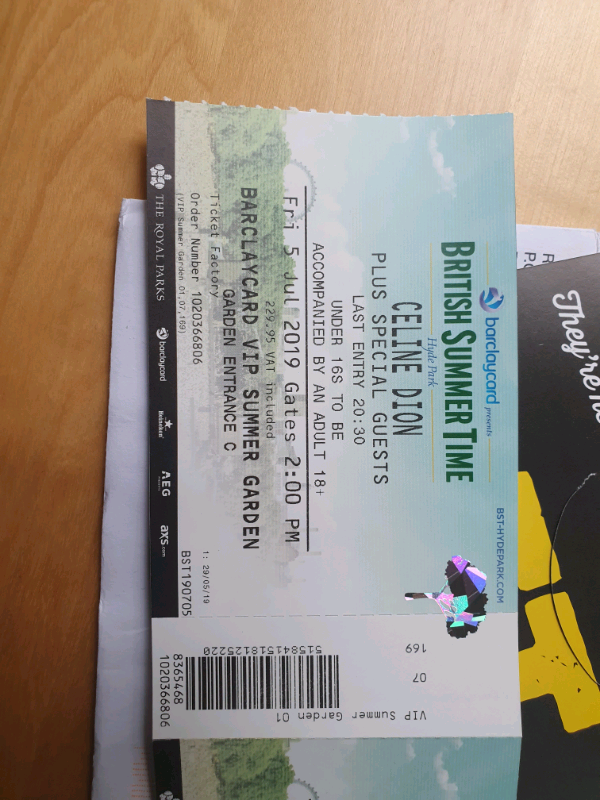 Celine Dion British Summertime Vip Tickets In Ashby De La Zouch Leicestershire Gumtree