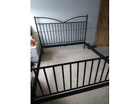 IKEA Superking bed frame black iron