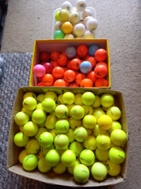 Coloured golf balls 30p.