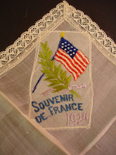 ANTIQUE WW1 Handmade Lace Trim Hanky Souvenir France French Silk Embroidery 1919