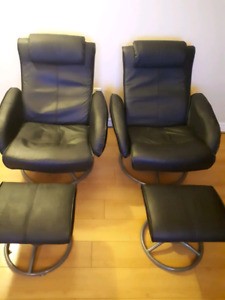 Lg  leather recliners & ottomans
