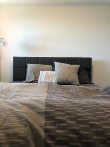 Queen sized Bed + Mattress + Bedsheets + Pillows + Cushion