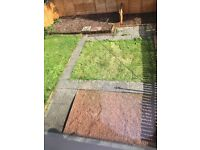 Free for collection, slabs, borders, chucky stones, bark