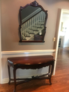 Antique Solid Mahogany Table and Mirror