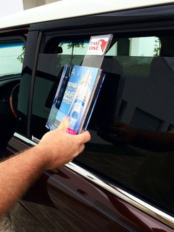 "Vehicle Window Brochure Holder Fits 6"" Wide Literature Bi Folds Catalogs Flyer"