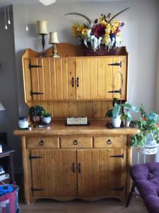 Antique Pine Hutch & Buffet