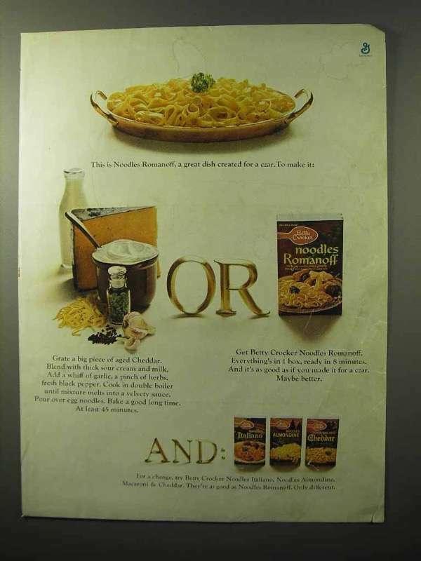 1964 Betty Crocker Noodles Romanoff Ad - Great Dish
