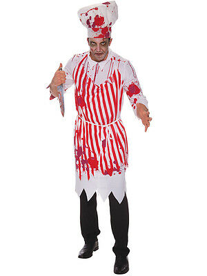 Adult Walking Dead Zombie Butcher Mens Halloween Fancy Dress Costume Outfit