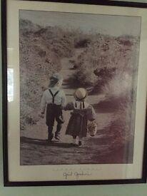 Large framed picture of boy & girl