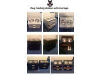 Dog feeding stations with storage