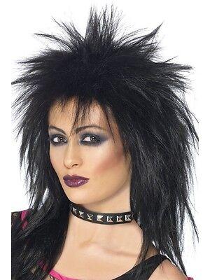 Womens Rock Diva Black Long Mullet Wig Fun Rock Star 80's Teen Ladies Accessory