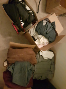 4 full boxes of clothing men's & women's and household items