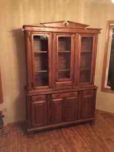 Custom Dark Oak China Cabinet - Vic-Craft 2 Piece Edmonton Edmonton Area image 1