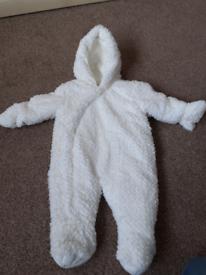 Mothercare white snowsuit 3-6months