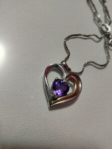 Amethyst Heart Silver/Gold Plated Necklace