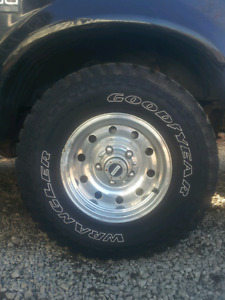 Set of 31/10.5/15 Goodyear wrangler territory with rims