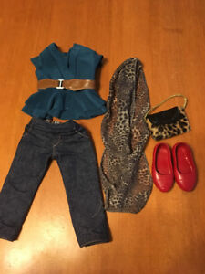 "18"" doll journey girl outfit red shoes blue top"