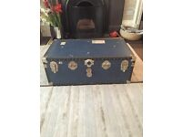Blue vintage Chest trunk