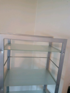 Metal and glass bookcase