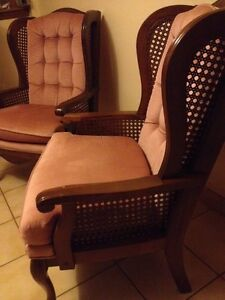 vintage high back wing chairs