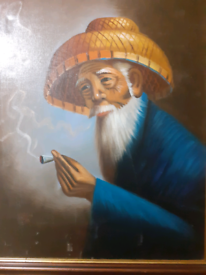 Oil painting of chinese man