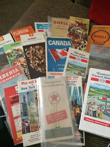 Lot of Vintage 1950's Paper Folded Roap Maps, Esso, Shell Mobile