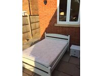 Winter grey shabby chic double bed with mattress and side cabinet