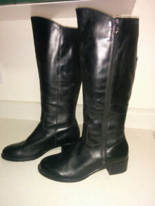 NEW, Black LEATHER 'Franco Sarto' Tall Winter Boots - Size 9