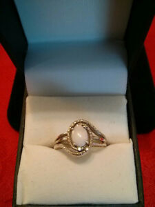 Sterling Silver Opal Ring with diamonds