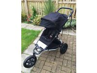 Mountain buggy pushchair with travel cot.