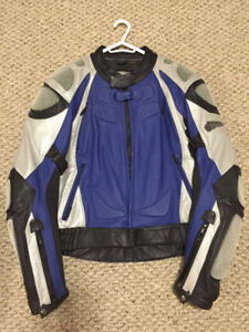 Leather Blue/Black Motorcycle Jacket